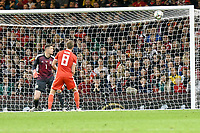 Football - 2018 / 2019 International Friendly - Wales vs. Spain<br /> <br /> Wayne Hennessey of Wales watches as the ball hits the back of the net for Spain's 5th, at the Principality Stadium (Millennium Stadium).<br /> <br /> COLORSPORT/WINSTON BYNORTH