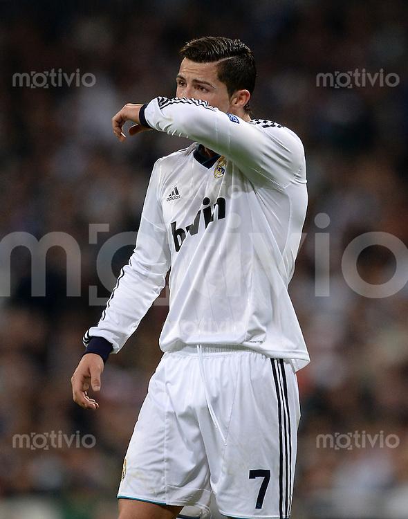 FUSSBALL  CHAMPIONS LEAGUE  HALBFINALE  RUECKSPIEL  2012/2013      Real Madrid - Borussia Dortmund                   30.04.2013 Cristiano Ronaldo (Real Madrid) enttaeuscht