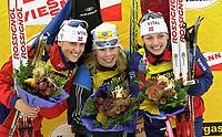 Skiskyting, 11. desmeber 2003, Gro Istad Kristiansen (NOR), Olena Zubrilova (BLR), Liv Grete Skjelbreid Poiree (NOR), Norge Biathlon Norwegen<br /> Weltcup Hochfilzen 10 km Sprint