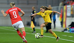 October 9, 2018 - Biel, SWITZERLAND - Switzerland's forward Ana-Maria Crnogorcevic and Belgium's Davina Philtjens pictured in action during a soccer game between Switzerland and Belgium's national team the Red Flames, Tuesday 09 October 2018, in Biel, Switzerland, the return leg of the play-offs qualification games for the women's 2019 World Cup. BELGA PHOTO DAVID CATRY (Credit Image: © David Catry/Belga via ZUMA Press)