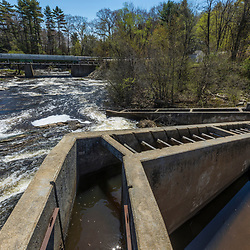 A dam and fish ladder on the Royal River in Yarmouth, Maine. Royal River Park.