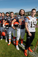 KELOWNA, BC - OCTOBER 6: Liam Hamlyn #50 of Okanagan Sun stands on the sidelines during the national anthem against the VI Raiders at the Apple Bowl on October 6, 2019 in Kelowna, Canada. (Photo by Marissa Baecker/Shoot the Breeze)
