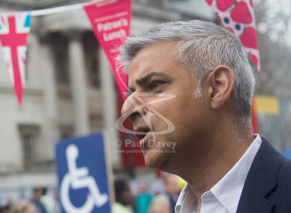 Trafalgar Square, London, June 12th 2016. Rain greets Londoners and visitors to the capital's Trafalgar Square as the Mayor hosts a Patron's Lunch in celebration of The Queen's 90th birthday. PICTURED: Mayor of London Sadiq Khan speaks to the media.