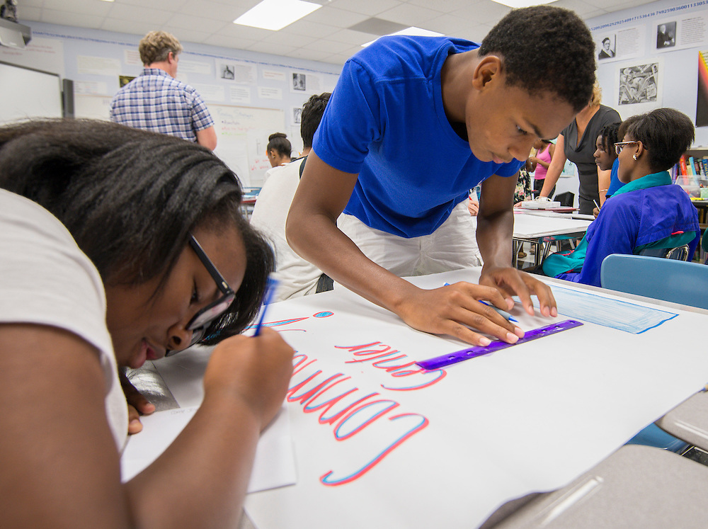Houston ISD students participate in a summer Literacy Enrichment Camp held at Challenge Early College High School, July 23, 2014.