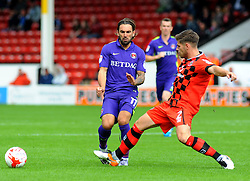 Ricky Holmes of Charlton Athletic loses possession to Joe Edwards of Walsall- Mandatory by-line: Nizaam Jones/JMP - 20/08/2016 - FOOTBALL - Banks Stadium - Walsall, England- Walsall v Charlton Athletic  - Sky Bet League One