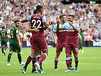 Football - 2019 Betway Cup (pre-season friendly) - West Ham vs. Athletic Bilbao<br /> <br /> West Ham United's Felipe Anderson and Manuel Lanzini congratulate Sebastien Haller after Jack Wilshere scores his side's equalising goal to make the score 2-2, at The London Stadium.<br /> <br /> COLORSPORT/ASHLEY WESTERN