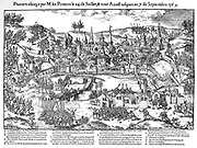 French Religious Wars 1562-1598. Siege of Poitiers 24 July-7 September 1569.  Huguenots under Gaspard de Coligny (1519-1572) besieged the city but the defenders held them off with the aid of heavy artillery and a small troop of cavalry, and by flooding meadows. Engraving by Jacques Tortorel  fl1568-1590) and Jean-Jacques Perrissin (1536-1617) from their series on the Huguenot Wars c1570.