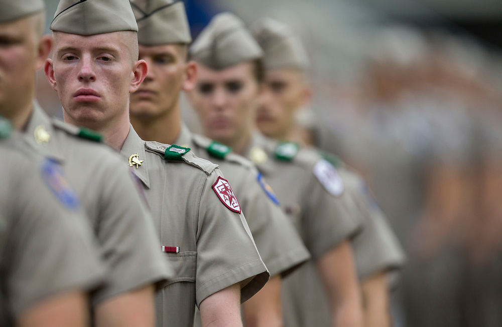 Members of the Texas A&M Corps of Cadets file into Jyle Field before the start of an NCAA college football game between Teas A&M and Louisiana-Lafayette Saturday, Sept. 16, 2017, in College Station, Texas. (AP Photo/Sam Craft)