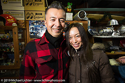 Kiyo and Kat at the Mooneyes shop and Japan HQ party after the annual Mooneyes Hot Rod and Custom Show. Japan. Monday, December 8, 2014. Photograph ©2014 Michael Lichter.