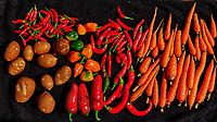 Garden Harvest. Potatoes, Carrots, Hot Peppers. Image taken with a Fuji X-H1 camera and 80 mm f/2.8 OIS macro lens.