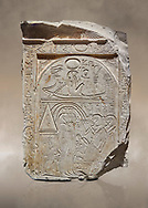 """Ancient Egyptian stele of sculptor Qen, limestone, New Kingdom, 19th Dynasty, (1279-1213 BC), Deir el-Medina, Old Fund cat 1635. Egyptian Museum, Turin. <br /> <br /> This stele belongs to the """"painter of outlines' and sculptor Qen who lived in the reign of Ramesses II. It depicrs a funeral celebration for him infront of funerary chapel with his sond Meryre and Huy, who are performing the """"ceremony of Opening of the Mouth"""". His daughter Taqri is depicted grieving over the loss of her father. The chapel is summounted by a Pyramidion. .<br /> <br /> If you prefer to buy from our ALAMY PHOTO LIBRARY  Collection visit : https://www.alamy.com/portfolio/paul-williams-funkystock/ancient-egyptian-art-artefacts.html  . Type -   Turin   - into the LOWER SEARCH WITHIN GALLERY box. Refine search by adding background colour, subject etc<br /> <br /> Visit our ANCIENT WORLD PHOTO COLLECTIONS for more photos to download or buy as wall art prints https://funkystock.photoshelter.com/gallery-collection/Ancient-World-Art-Antiquities-Historic-Sites-Pictures-Images-of/C00006u26yqSkDOM"""