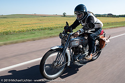 Bret Yeager on his 1914 Harley-Davidson on the Motorcycle Cannonball coast to coast vintage run. Stage 8 (314 miles) from Spirit Lake, IA to Pierre, SD. Saturday September 15, 2018. Photography ©2018 Michael Lichter.