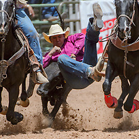 Steer wrestler Rooster Yazzie makes a winning 4.96 second run during the Gallup Inter-tribal Indian Ceremonial rodeo Saturday at Red Rock Park.