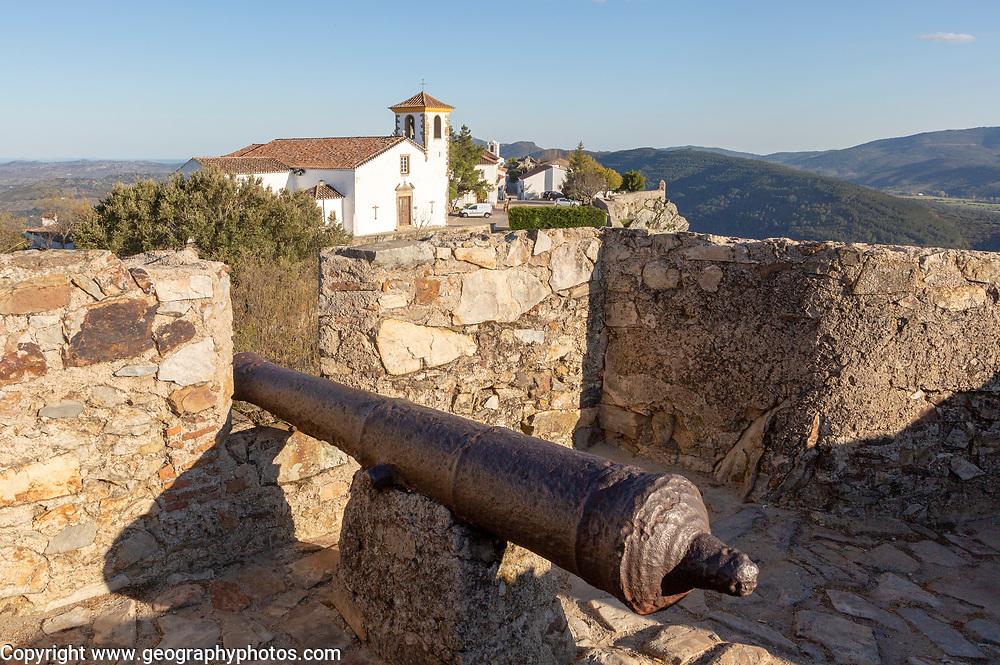Cannon in historic castle medieval village of Marvão, Portalegre district, Alto Alentejo, Portugal, Southern Europe
