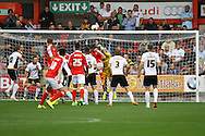 Port Vale's Goalkeeper Chris Neal gets his fists to the ball and clears. Skybet football league one match, Crewe Alexandra v Port Vale at the Alexandra Stadium in Crewe on Saturday 13th Sept 2014.<br /> pic by Chris Stading, Andrew Orchard sports photography.
