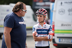 Christina Perchtold & Thomas Campana talk tactics at Grand Prix de Plouay Lorient Agglomération a 121.5 km road race in Plouay, France on August 26, 2017. (Photo by Sean Robinson/Velofocus)