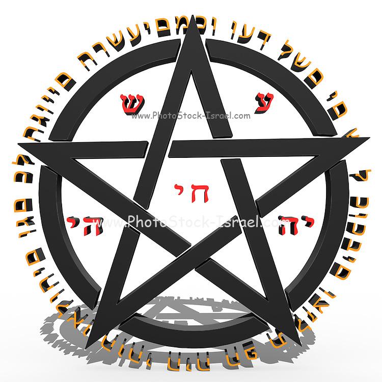 3D Graphic pentagram, witchcraft concept with hebrew text