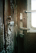 Ice on the inside of a Trans Siberian Railway carriage, Siberia, Russia