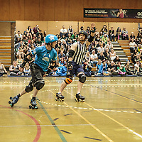 Manchester Roller Derby's Chaos Engins take on the Nottinghams Super Smash Brollers at George H Carnall Sports Centre, Manchester, 2014-05-31