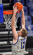 St Louis Billikens forward Marten Linssen (12) dunks the ball. St. Louis University hosted the University of Arkansas - Pine Bluff in a mens basketball game on December 5, 2020 at Chaifetz Arena on the SLU campus in St. Louis, MO.<br /> Photo by Tim Vizer