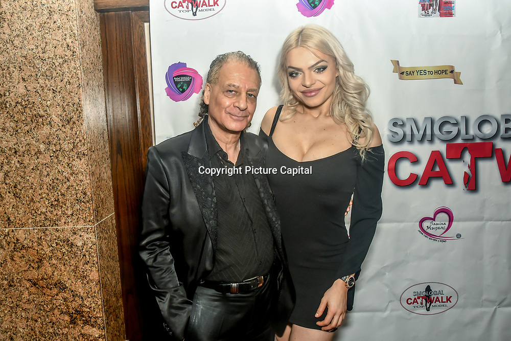 Alan Enfield and Gabriella Melrose backstage at SMGlobal Catwalk - London Fashion Week F/W19 at Clayton Crown Hotel,  Cricklewood Broadway, on 1st March 2019, London, UK.