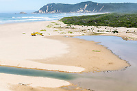 Mechanical engineering of the Swartvlei estuary mouth to prevent flooding, Garden Route National Park, Western Cape, South Africa