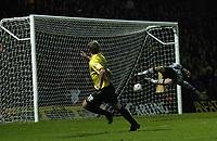 Fotball<br /> Carling Cup Fourth Round<br /> 09.11.2004<br /> Foto: SBI/Digitalsport<br /> NORWAY ONLY<br /> <br /> Watford v Southampton<br /> <br /> Heidar Helguson curls a spectacular ball past Alan Blayney for Watford's fourth goal.