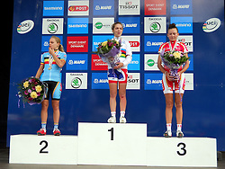 Jessy Druynts (Belgium), winner Lucy Garner (Great Britain) and Christina Siggaard (Denmark) at medal ceremony after the the Women´s Junior Road Race on day five of the UCI Road World Championships on September 23, 2011 in Copenhagen, Denmark. (Photo by Marjan Kelner / Sportida Photo Agency)