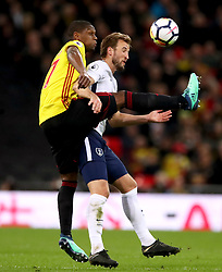 Tottenham Hotspur's Harry Kane (right) and Watford's Christian Kabasele battle for the ball