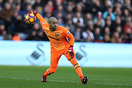 Darren Randolph, the West Ham United goalkeeper in action.  Premier league match, Swansea city v West Ham United at the Liberty Stadium in Swansea, South Wales on Boxing Day, Monday 26th December 2016.<br /> pic by  Andrew Orchard, Andrew Orchard sports photography.