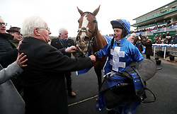 James Bowen with Raz De Maree after their victory in the Coral Welsh Grand National Handicap Chase during Coral Welsh Grand National Day at Chepstow Racecourse, Chepstow.