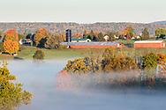 Morning fog over farm fields in Goshen, N.Y., on Oct. 14, 2020.
