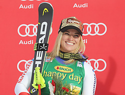 03.12.2017, Lake Louise, CAN, FIS Weltcup Ski Alpin, Lake Louise, Super G, Damen, Siegerehrung, im Bild Lara Gut (SUI) // Lara Gut of Switzerland during the winner ceremony of ladie's Super G of FIS Ski Alpine World Cup in Lake Louise, Canada on 2017/12/03. EXPA Pictures © 2017, PhotoCredit: EXPA/ SM<br /> <br /> *****ATTENTION - OUT of GER*****