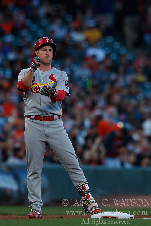SAN FRANCISCO, CA - JULY 06: Jedd Gyorko #3 of the St. Louis Cardinals stands on third base after hitting a triple against the San Francisco Giants during the second inning at AT&T Park on July 6, 2018 in San Francisco, California. The San Francisco Giants defeated the St. Louis Cardinals 3-2. (Photo by Jason O. Watson/Getty Images) *** Local Caption *** Jedd Gyorko