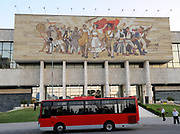 The Albanians mosaic on the front of the Albanian National Historical Museum, Muzeu Historik Kombëtar, in Tirana. This mosaic is a fine example of Albanian Socialist Realist art.  Skanderbeg Square, Tirana, Albania. 02Sep15<br /> <br /> '