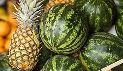 THEMENBILD - Ananas und Wassermelone bei einem Markt, aufgenommen am 28. Juni 2018 in Fazana, Kroatien // Pineapple and watermelon at a Market, Fazana, Croatia on 2018/06/28. EXPA Pictures © 2018, PhotoCredit: EXPA/ JFK