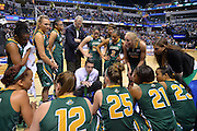April 4, 2016; Indianapolis, Ind.; Ryan McCarthy talks to his team during a timeout in the NCAA Division II Women's Basketball National Championship game at Bankers Life Fieldhouse between UAA and Lubbock Christian. The Seawolves lost to the Lady Chaps 78-73.
