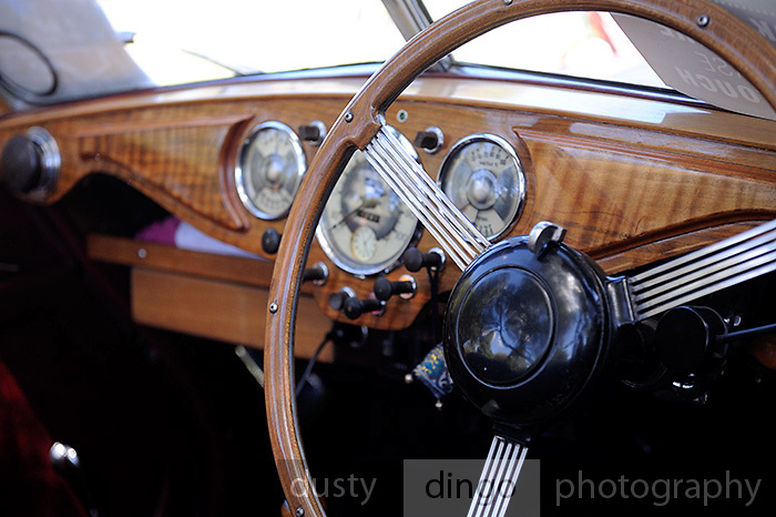 Steering Wheel, 1951 Riley Drophead Special.<br /> 2011 Classic Car Show, Whiteman Park, Perth, Western Australia. March 20, 2011