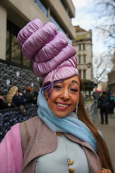 © Licensed to London News Pictures. 14/02/2020. London, UK. Hat designer Tracy Rose arrives on day one of the London Fashion Week - Autumn/Winter collection fashion shows in The Strand. Photo credit: Dinendra Haria/LNP