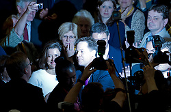 © London News Pictures. 26/09/2012. Brighton, UK.  Deputy Prime Minister and Leader of the Liberal Democrats, NICK CLEGG and his wife MIRIAM GONZALEZ DURANTEZ leaving auditorium after Nick Clegg delivered his leaders speech on the final day of the Liberal Democrat Autumn Conference in Brighton, East Sussex  on September 26, 2012. Photo credit : Ben Cawthra/LNP.