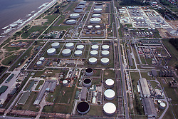 Stock photo of an aerial view of an industrial petroleum plant in Brunei