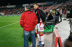 Israeli football star Abbas Suan, on the field during a game with his local team Bnei Sahknin at Bloomfield Stadium, Jaffa, Israel, Jan. 29, 2006. The team has a mixture of Israeli-Arab, Israeli, and foreign players. Suan, an Israeli-Arab, still faces criticism and racism resulting from the unsettled conflict between the Israelis and Palestinians.
