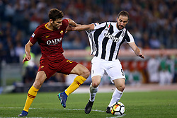 May 13, 2018 - Rome, Italy - Federico Fazio of Roma and Gonzalo Higuain of Juventus during the Italian Serie A football match AS Roma vs Juventus at the Olympic stadium on May 13, 2018 in Rome. (Credit Image: © Matteo Ciambelli/NurPhoto via ZUMA Press)