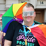 London, England, UK. 7th July 2018. Colourful costumes at the Pride parade in London on 7th July 2018