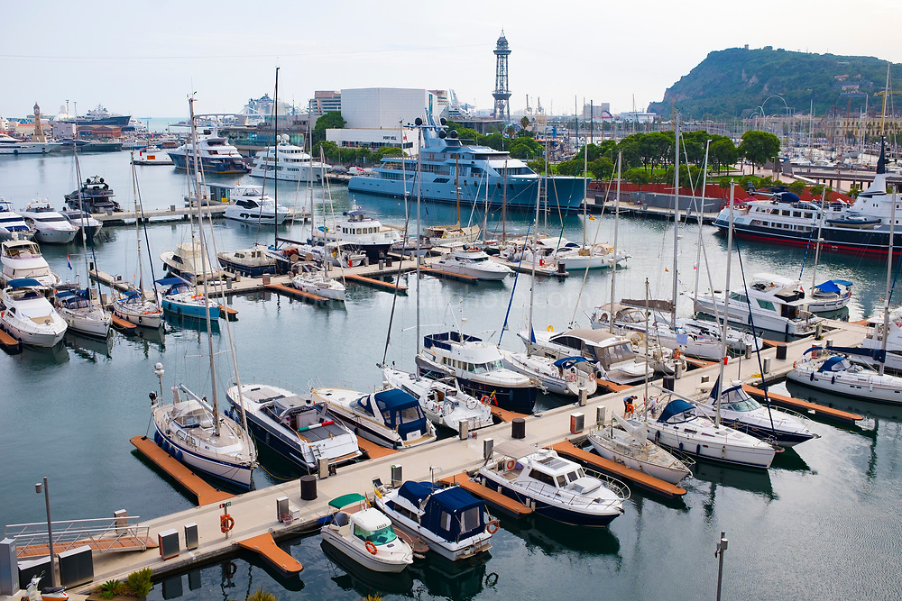 Private yachts in Barcelona harbour, Catalonia.