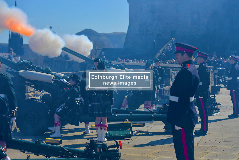 Officer Cadets from Glasgow and Strathclyde Universities<br /> Officer Training Corp (UOTC) carry out 21-gun royal salutes to mark Queen's 90th birthday. At Edinburgh Castle, <br /> (c) Brian Anderson | Edinburgh Elite media