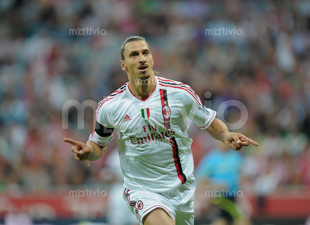 Fussball  International   Audi Cup 2011  Saison 2011/2012   26.07.2011 FC Bayern Muenchen - AC Mailand JUBEL, Torschuetze Zlatan Ibrahimovic (AC Mailand)