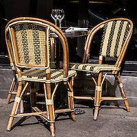 Fine art photograph sidewalk cafe chairs Paris France