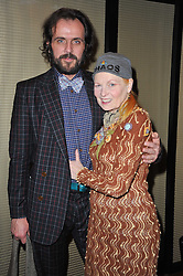 DAME VIVIENNE WESTWOOD and her husband MR ANDREAS KRONTHALER at a dinner in honour of Andre Leon Talley and Manolo Blahnik held at The Spice Market restaurant at W London, Leicester Square, London on 14th March 2011.