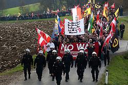 Licensed to London News Pictures. 15/11/2015. Spielfeld, Austria. Anti-migrant protest in Spielfeld, Austria. Several hundred rally against migrants at Austria's border with Slovenia. Photo: Marko Vanovsek/LNP